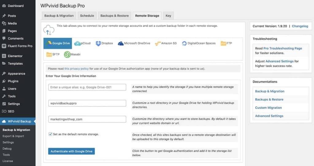 Activate Remote Backup Setup WordPress Website