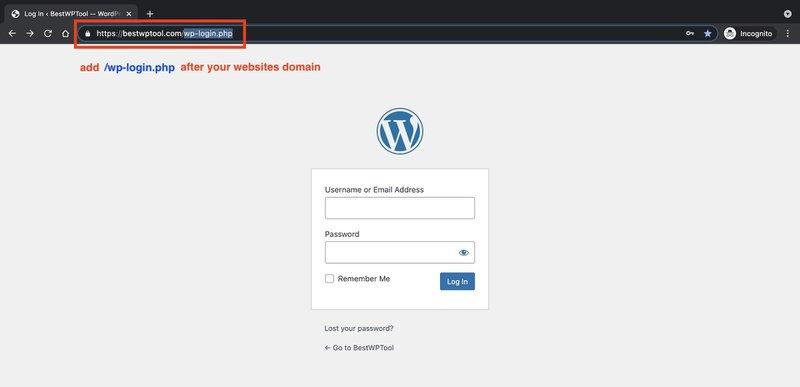 Find your WordPress Websites login page with wp login url