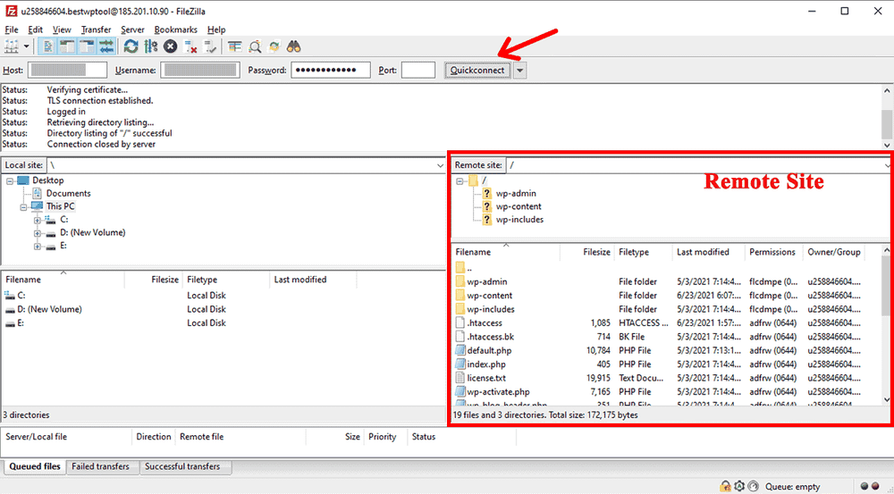 Connect to your WordPress Server with FileZilla