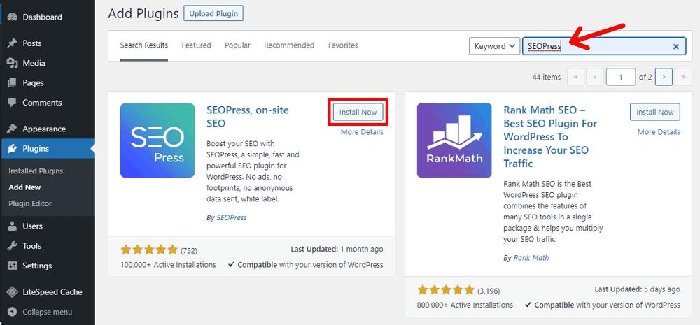 Search and Install Free WordPress Plugin SEOPress