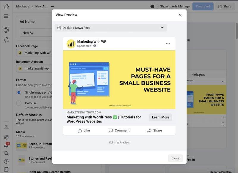 Facebook Creative Studio Mockup Desktop View