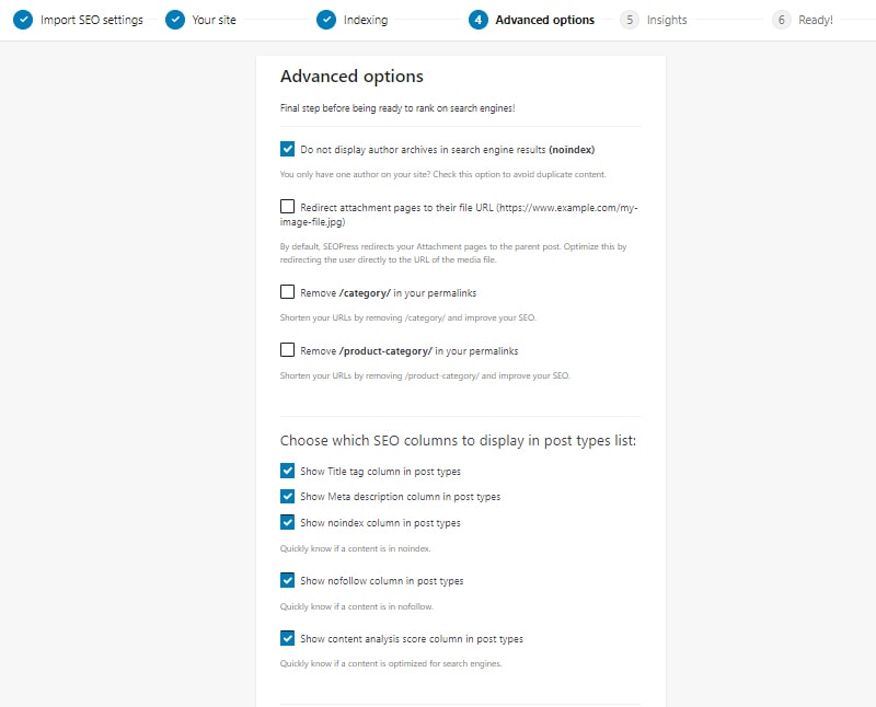 advanced settings install and setup seopress