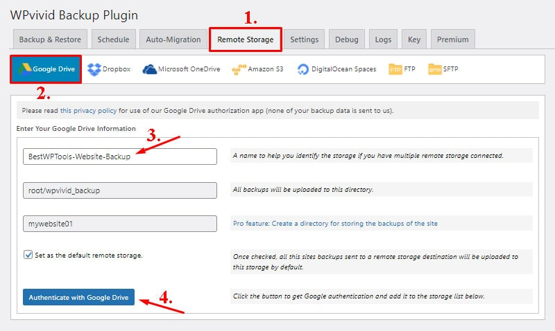authenticate with google drive backup wordpress website