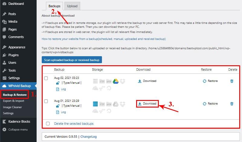 backup details backup wordpress website