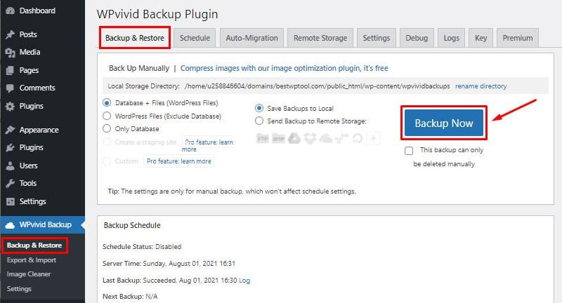 backup locally backup wordpress website