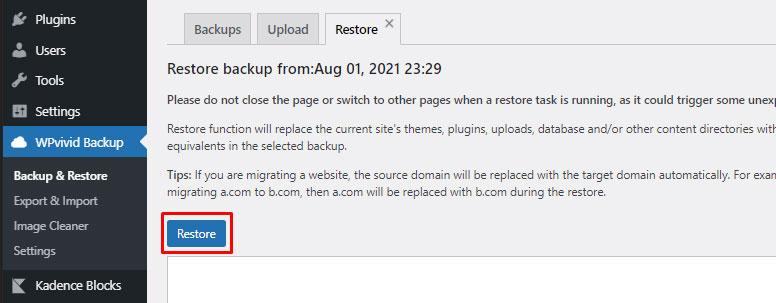 click on restore backup wordpress website