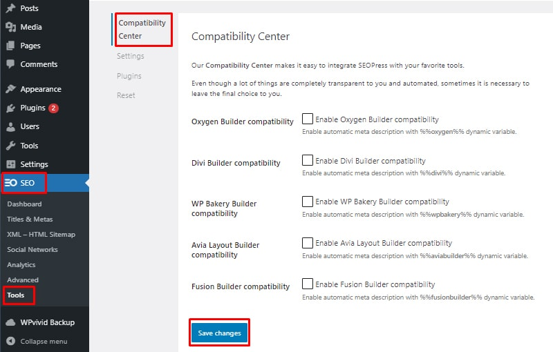 compatibility center install and setup seopress