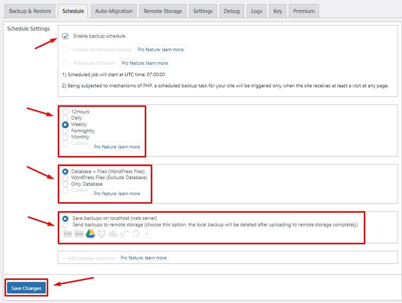 configure backup schedule backup wordpress website