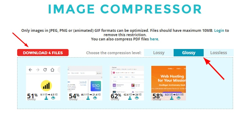 download compressed images on page seo
