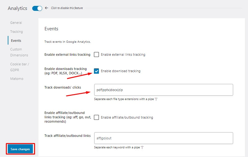 events tracking install and setup seopress