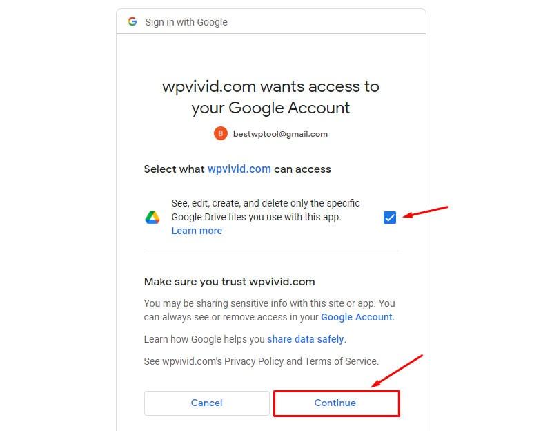 give access to wpvivid backup wordpress website