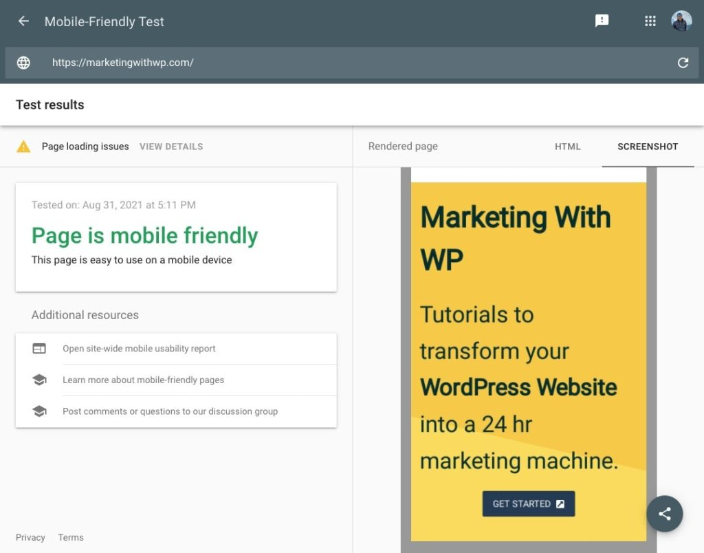 google mobile friendly test result of marketingwithwp website audit and analysis