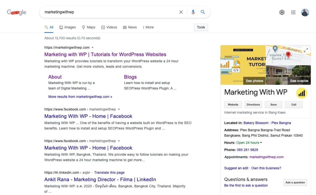 marketing with wp google my business profile website audit and analysis