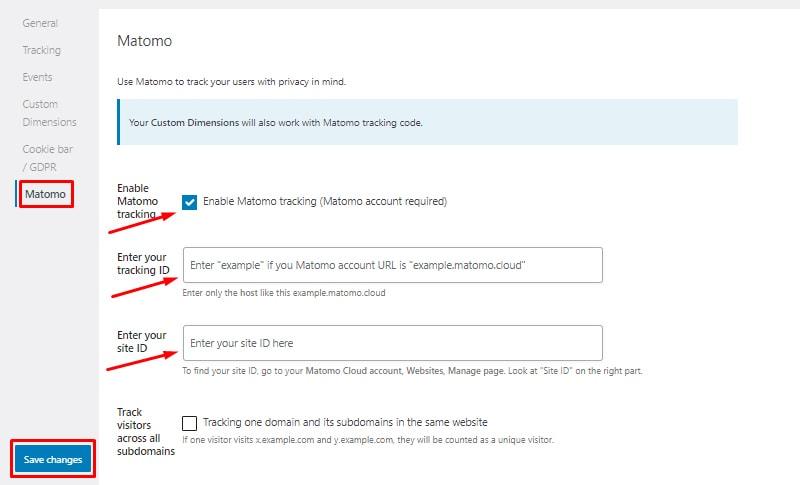 Matomo tracking install and setup seopress