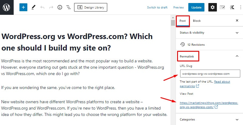 optimize permalink on page seo