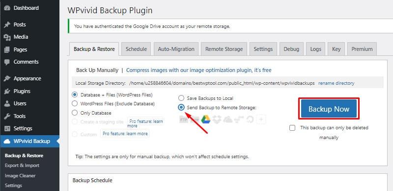 remote backup backup wordpress website