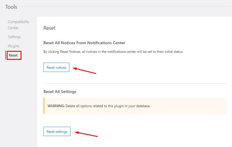 reset notices and settings install and setup seopress