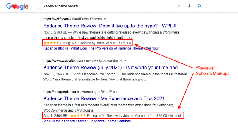 reviews schema markup on page seo