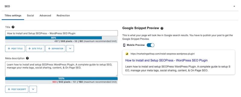 seopress custom title and meta tags install and setup seopress