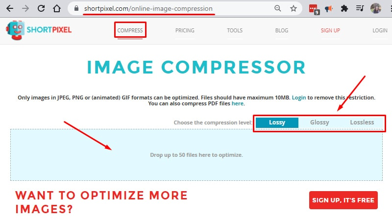 shortpixel image compression on page seo