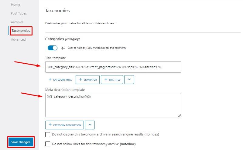 taxonomy meta install and setup seopress