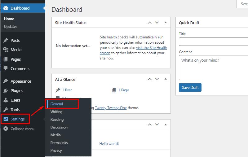 access wordpress general settings