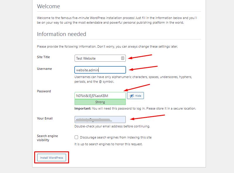 account creation install wordpress on local drive