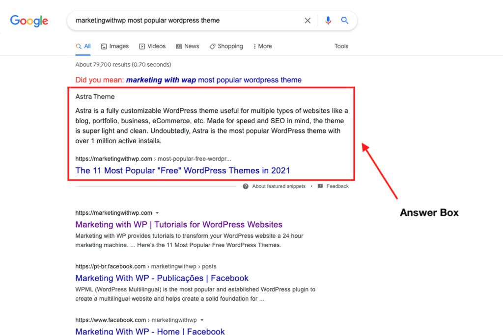 answer box featured snippet marketingwithwp optimize content for featured snippet