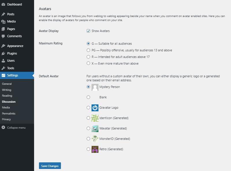avatar settings wordpress discussion settings