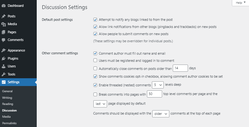 default post and other comment settings wordpress discussion settings