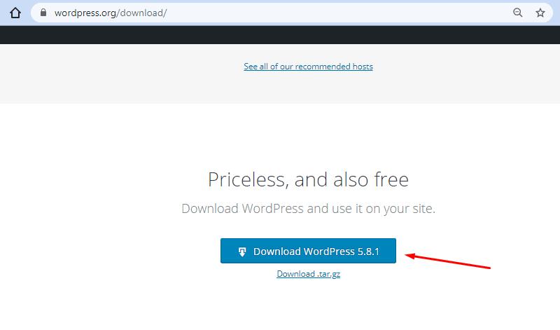 download wordpress install wordpress on local drive