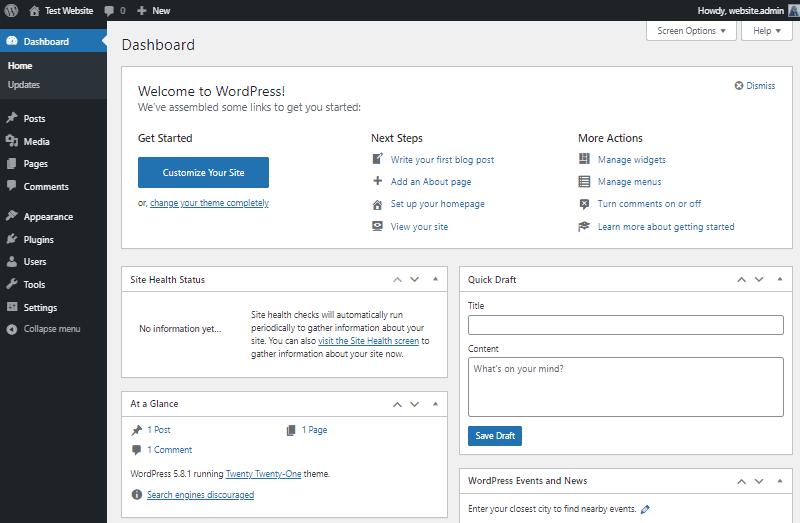 overview of wordpress dashboard