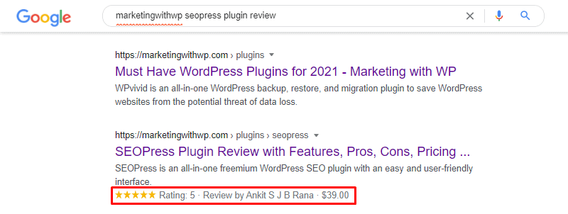 rich snippets example optimize content for rich snippet