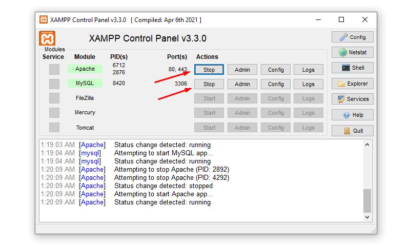 run xampp server install wordpress on local drive