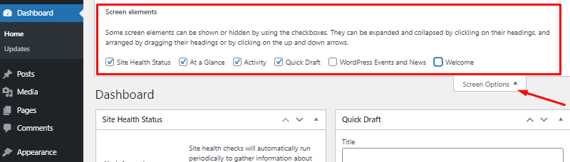 screen elements options wordpress dashboard