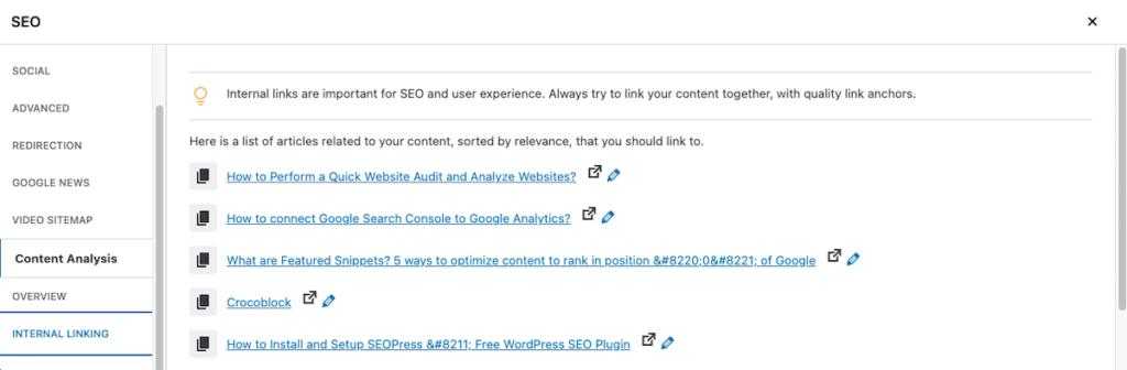 seopress internal link suggestion meta box google ranking factors