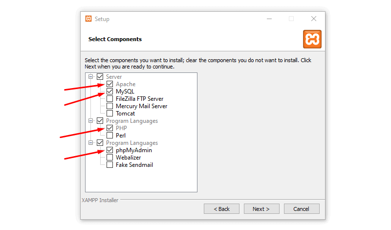 tick the options install wordpress on local drive