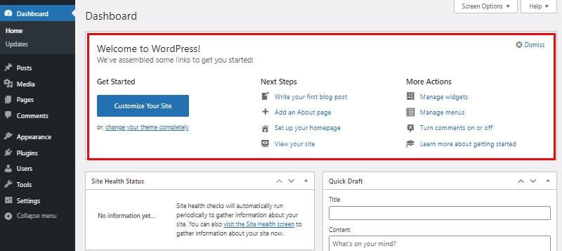 welcome screen wordpress dashboard