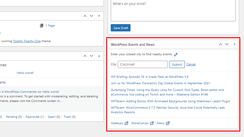 wordpress events and news wordpress dashboard