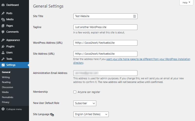 wordpress general settings dashboard part 1