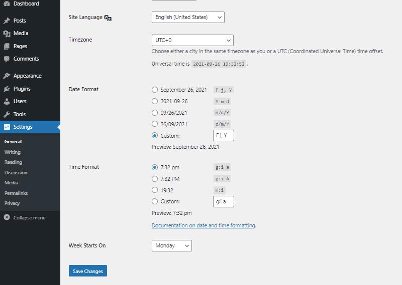 wordpress general settings dashboard part 2