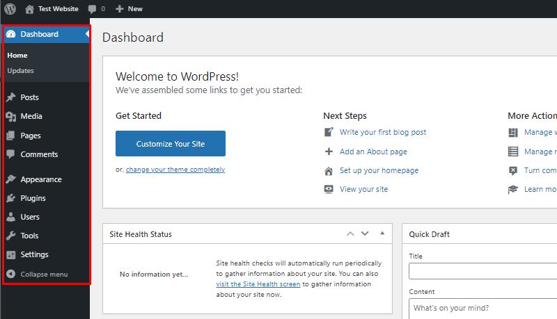 wordpress menu wordpress dashboard