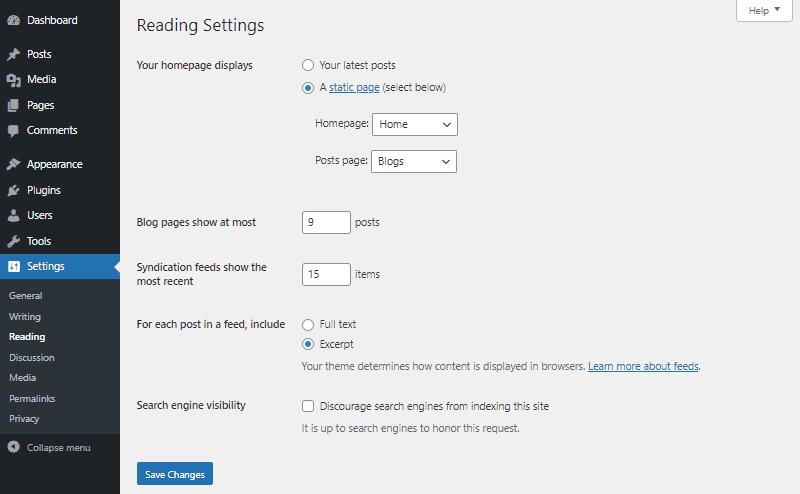 wordpress reading settings dashboard
