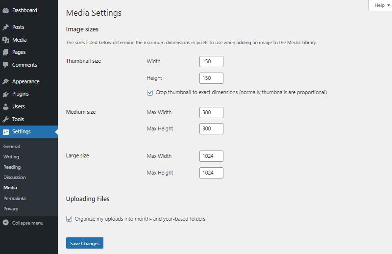 wordpress media settings dashboard
