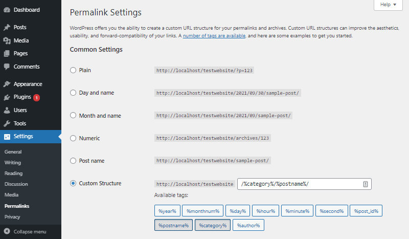 wordpress permalink settings dashboard